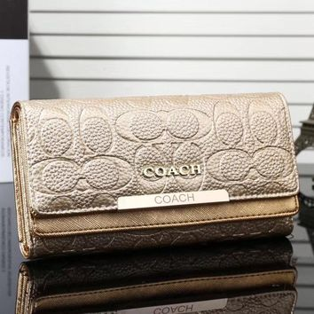 Coach Women Fashion Leather Buckle Wallet Purse