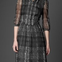 Burberry TWEED PRINT SILK GEORGETTE DRESS - Dresses