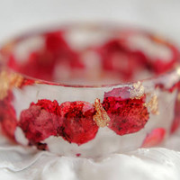 Thin Romantic Rose leaves Crystal resin Bangle with Golden Flakes from Real Pink Roses Handmade Art Bracelet magical colorful soft feeling