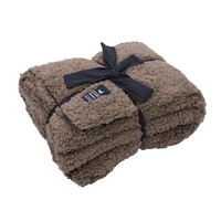 Watson Fluffy Pile & Tartan Blanket in Light Brown by Southern Marsh - FINAL SALE