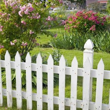 White Picket Fence Titanium Cloth Backdrop 8x8 - LCTC454 - LAST CALL