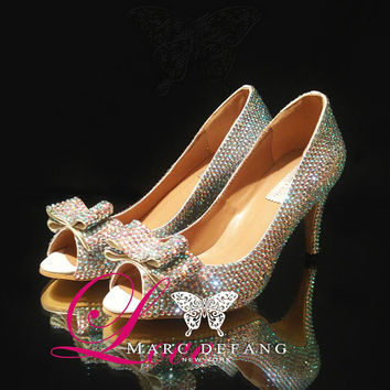 "Leather 3"" Heels, Luxury AB Crystal with Bows Bridal Pumps"
