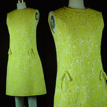 60s Yellow Gold Drop Waist Dress Vintage 1960s Quilted Matelasse Sleeveless Go Go Short Scooter S Small