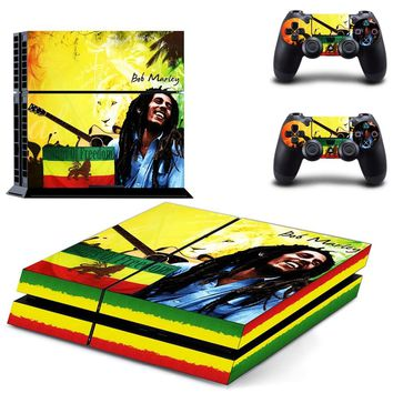 Bob Marley Decal Skin Stickers For Sony Playstation 4 PS4 Console + 2 Pcs Stickers For PS4 Controller