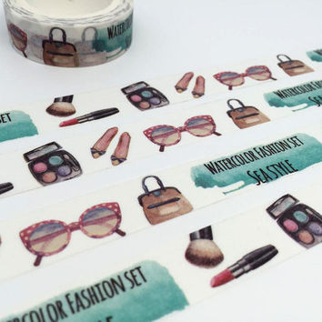 Cosmetic tape 10M cosmetic theme fashion girl washi tape cosmopolitan fashion lady theme lady bag vintage sunglasses decor sticker tape gift
