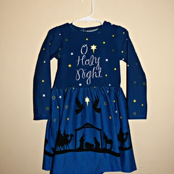 4T Christmas dress, O Holy Night Gloria dress with nativity scene on skirt