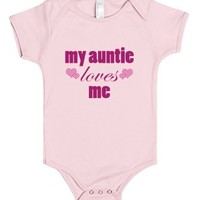 My Auntie Loves Me-Unisex Light Pink Baby Onesuit 00