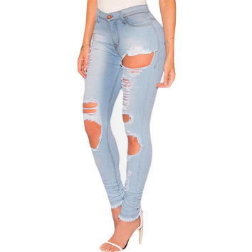 Light Denim Destroyed Frayed Hem Skinny Jeans LAVELIQ