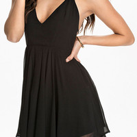 Black Halter T Back Layered Mini Skater Dress