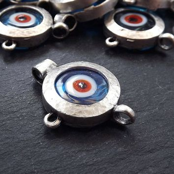 Evil Eye Pendant, Translucent Blue, Blue Evil Eye, Evil Eye Charm, Glass Evil Eye, Lucky, Turkish Eye, Greek Eye, Antique Silver Plated 1pc