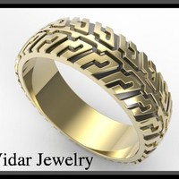 Two Tone Gold Tire Tread Men's Wedding Ring