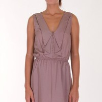 TAUPE RUFFLE SOLID DRESS @ KiwiLook fashion