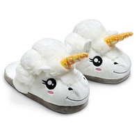 1Pair Plush Unicorn Cotton Slippers for White Despicable Me Grown Ups Winter Warm Indoor Slippers