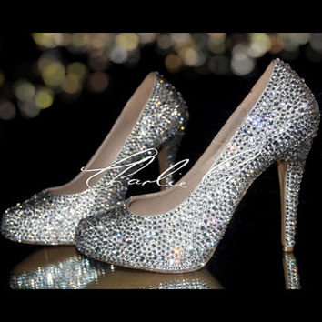 "CHARLIE CO. Clear Crystal Strass Heels 4.5"" Platform Shoes Silver Clear Diamond Crystallized Pumps Bridal Wedding Evening Occasion Sparkly"