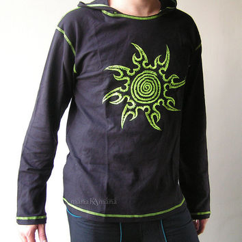 Spiral Star - Men's  Psy  Party  Shirt with Hood  -  Long Sleeve  - Cotton - Rave   - Festival - Embroidery - Sweatshirt  - Trance