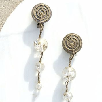 70s Brass and Clear Lucite Earrings