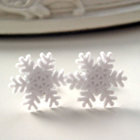 Christmas snowflake earrings white snow winter