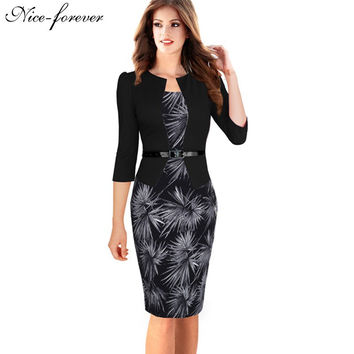 Elegant Floral Office Body con, Full Sleeve, Knee Length Sheath Dress