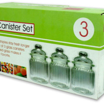 clear glass canister set Case of 3
