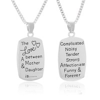 Encounter Silver Tone Love Between Mother & Daughter Pendant Chain Necklace 46.5cm