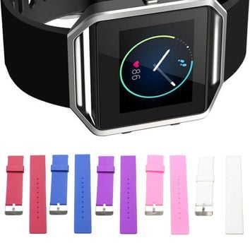 Soft Rubber Silicone Watchband Strap Replacement Watch Wristband For/Fitbit Blaze/Tracker Smart Watch Metal Buckle Bracelet