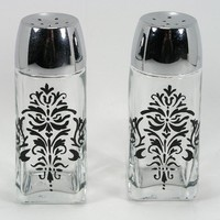 Lacy Black Damask Hand Painted Glass Salt by astrokeofjeanneius