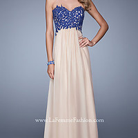 Long Strapless Two Tone Gown by La Femme