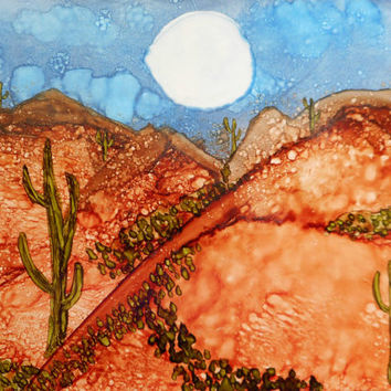 Desert Mountain Cactus Moon Landscape Painting Alcohol Ink Original SFA Art 5x7