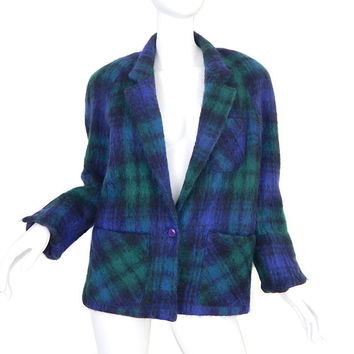 Sz 6 80s Oversized Green Plaid Mohair Jacket - Vintage Women's Green and Blue Fuzzy Wool Coat