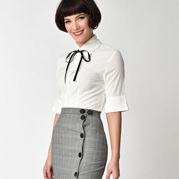 White & Black Tie Front Lori Ann Button Up Blouse