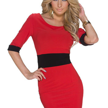 Red Short Sleeve Contrast Band Bodycon Mini Dress