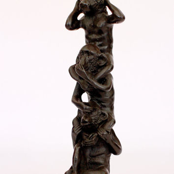 Exclusive monkey Figurine (3 units in vertical)  - Ebony wood colored  carved from old Sri Lanka technology.