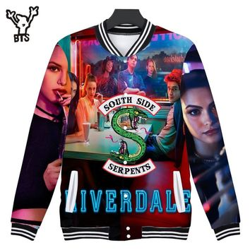 Trendy 2018 BTS Riverdale 3D Print southside Women/Men Baseball Jacket Sweatshirts Lovely Spring Anime Women Funny Jacket Print Coats AT_94_13