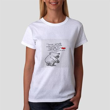 Classic Women Tshirt Winnie The Pooh Love Quote