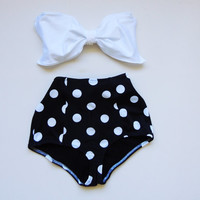 High Waisted Bow Bikini Black white polka dot bottoms & White Bow Bandeaux \top Cute Sexy Swimwear Retro Swimming Costume Look Hot be Cool