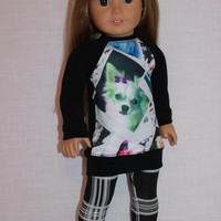 18 inch doll clothes, dog photograph print shirt, and plaid print leggings, 18 inch doll clothes