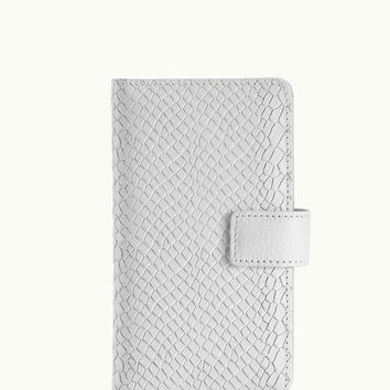 GiGi New York iPhone 6 Wallet Case White Embossed Python Leather