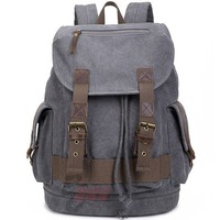 Vintage Large Thick Canvas Laptop Rucksack Men's Splicing Draw Strap School Travel Outdoor Flap Backpack