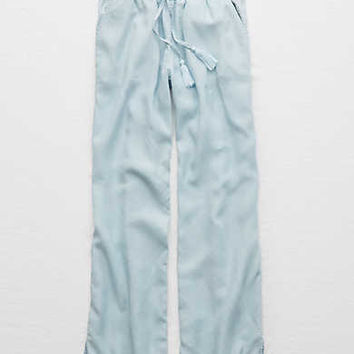 Aerie Wide Leg Chambray Pant , Light Blue