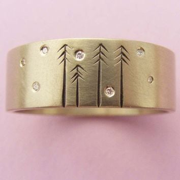 Wedding Band 14ct Gold and Diamond with Pine Trees