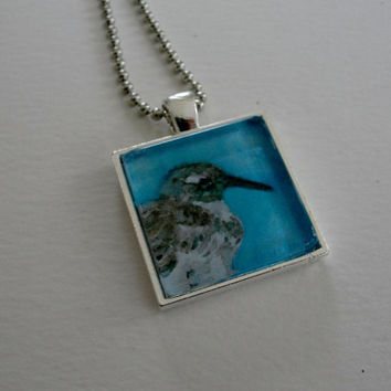Summer Beach Bird Art Glass Silver Pendant Necklace Sandpiper Shorebird Pendant on Silver Ball chain Bird Jewelry from Original Art