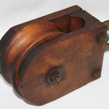 Antique Starline Wood Barn Pulley, Industrial Decor