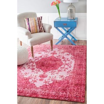 nuLOOM Traditional Intricate Medallion Pink Rug (7'10 x 10'10) | Overstock.com Shopping - The Best Deals on 7x9 - 10x14 Rugs