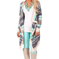 Navy and Mint Long Stripe Detailed Cardigan