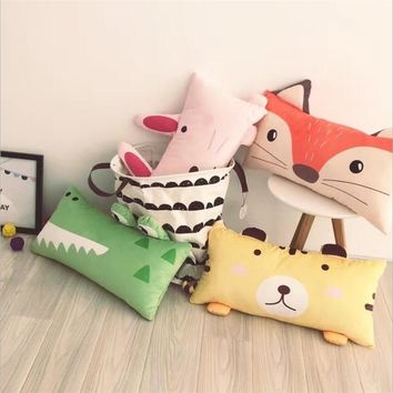 Nordic style cute long back cushion with velboa cover Washable cartoon animals long back cushion Big pillow pacify dolls