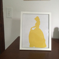 Yellow Princess Silhouette Picture Frame