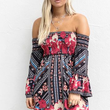 Focused On You Black And Red Off The Shoulder Dress