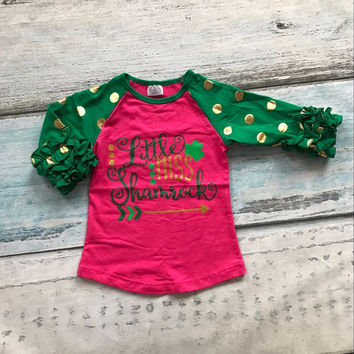 baby girls three quarter cotton boutique cute top T-shirt raglans clothing hot pink ruffles little miss shamrocks print