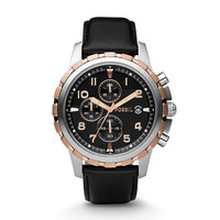 Dean Chronograph Leather Watch - Black with Rose