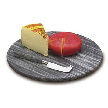 Grey Marble Round Cheese Board w/Knife